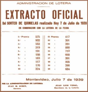 Loteria oficial Quiniela